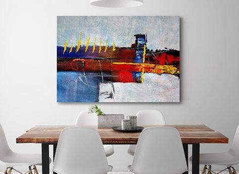 Abstrakt oljemålning - Bordeaux